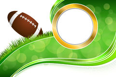 Background abstract green grass American football rugby ball gold circle frame illustration Royalty Free Stock Photos