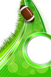 Background abstract green grass American football rugby ball gold circle vertical frame illustration. Vector Royalty Free Stock Images