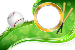Background abstract green grass baseball ball gold circle frame illustration Stock Photos