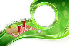 Background abstract green grass picnic basket hamburger drink vegetables baseball ball circle frame illustration Stock Image