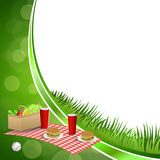 Background abstract green grass picnic basket hamburger drink vegetables baseball ball circle frame illustration Stock Photo