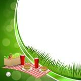 Background abstract green grass picnic basket hamburger drink vegetables baseball ball circle frame illustration Stock Photo