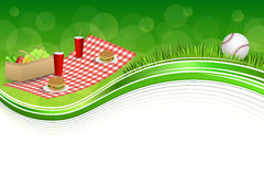 Background abstract green grass picnic basket hamburger drink vegetables baseball ball frame illustration Royalty Free Stock Photo