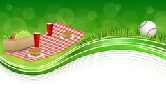 Background abstract green grass picnic basket hamburger drink vegetables baseball ball frame illustration. Vector Royalty Free Stock Photo