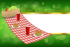 Background abstract green grass picnic basket hamburger drink vegetables gold stripes frame illustration. Vector Stock Illustration