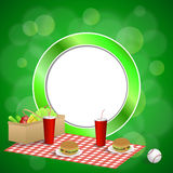 Background abstract green picnic basket hamburger drink vegetables baseball ball circle frame illustration Royalty Free Stock Photography