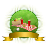 Background abstract green picnic basket hamburger drink vegetables baseball ball circle gold ribbon frame illustration Stock Photos