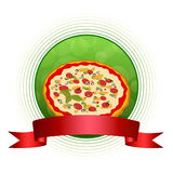 Background abstract green pizza red ribbon circle frame illustration. Background abstract green pizza illustration red ribbon circle frame vector Royalty Free Stock Photography