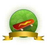 Background abstract green skateboard red yellow circle gold ribbon frame illustration. Vector vector illustration