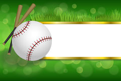 Background abstract green sport white baseball ball club gold strips frame illustration Royalty Free Stock Photos