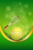 Background abstract green tennis sport yellow ball frame vertical gold ribbon illustration Royalty Free Stock Photo