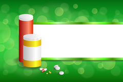 Background abstract green white medicine tablets red pill plastic yellow bottle packages stripes frame illustration Stock Photos