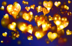 Background abstract.1. Hearts of gold against a dark background. Horizontal illustration Stock Photos