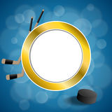 Background abstract hockey blue ice puck circle frame illustration Stock Photo