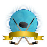 Background abstract hockey ice puck stick circle gold tape frame Royalty Free Stock Image