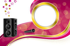 Background abstract karaoke microphone loudspeaker star pink yellow gold ribbon circle frame illustration. Vector Stock Photo
