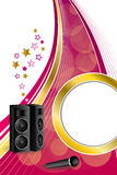 Background abstract karaoke microphone loudspeaker star pink yellow vertical gold ribbon circle frame illustration. Vector Royalty Free Stock Images