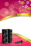 Background abstract karaoke microphone loudspeaker star pink yellow vertical gold ribbon frame illustration Stock Image
