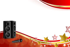 Background abstract karaoke microphone loudspeaker star red yellow gold ribbon frame illustration Royalty Free Stock Photography
