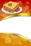 Background abstract lasagna food meat tomato yellow green red frame vertical gold ribbon illustration Stock Photo