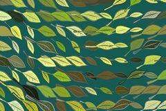 Background abstract leaves drawing pattern for design. Wallpaper, digital, decoration & green. Background abstract leaves drawing pattern for design. Style of Royalty Free Stock Image