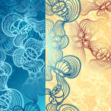 Background with abstract marine lace in blue beige. Background with abstract marine lace seashells, starfish, sea flowers, coelenterates in blue beige colors vector illustration