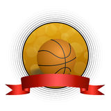 Background abstract orange black basketball ball circle frame red ribbon illustration Stock Photo