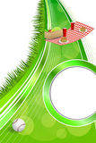 Background abstract picnic basket hamburger drink vegetables baseball ball circle frame ribbon vertical illustration Royalty Free Stock Images