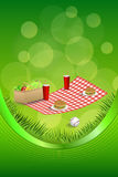 Background abstract picnic basket hamburger drink vegetables baseball ball frame ribbon vertical illustration Royalty Free Stock Image