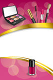 Background abstract pink cosmetics make up lipstick mascara eye shadows nail polish frame vertical gold ribbon illustration Royalty Free Stock Photo