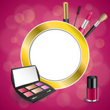 Background abstract pink cosmetics make up lipstick mascara eye shadows nail polish gold circle frame illustration Stock Image