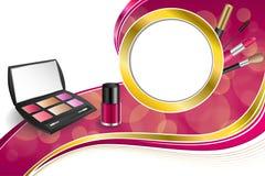Background abstract pink cosmetics make up lipstick mascara eye shadows nail polish gold ribbon circle frame illustration Royalty Free Stock Image