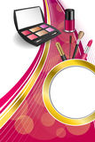Background abstract pink cosmetics make up lipstick mascara eye shadows nail polish gold ribbon circle vertical frame illustration Stock Image
