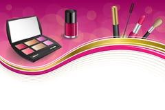 Background abstract pink cosmetics make up lipstick mascara eye shadows nail polish gold ribbon frame illustration Stock Photo