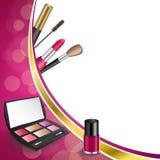 Background abstract pink cosmetics make up lipstick mascara eye shadows nail polish gold ribbon frame illustration Stock Images