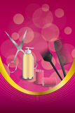 Background abstract pink hairdressing barber tools red curler scissors brush frame vertical gold ribbon illustration. Vector Stock Photo