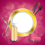 Background abstract pink hairdressing barber tools red curler scissors brush gold circle frame illustration Stock Images