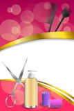 Background abstract pink hairdressing barber tools red curler scissors brush gold ribbon vertical frame illustration Stock Photo