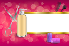 Background abstract pink hairdressing barber tools red curler scissors brush stripes gold frame illustration. Vector Royalty Free Stock Photo