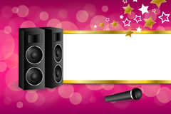 Background abstract pink karaoke microphone loudspeaker star yellow stripes gold frame illustration Royalty Free Stock Photo