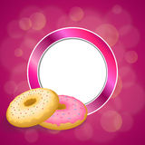 Background abstract pink yellow baked donut glazed ring circle frame illustration Stock Images