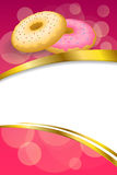 Background abstract pink yellow baked donut glazed ring frame vertical gold ribbon illustration. Vector stock illustration