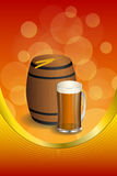 Background abstract red barrel drink glass dark beer yellow wheat gold vertical frame illustration Royalty Free Stock Images
