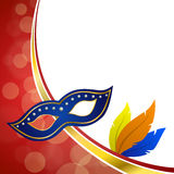Background abstract red carnival party mask plumage gold frame illustration. Vector Stock Image