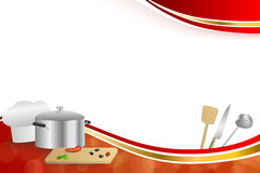 Background abstract red cooking white hat saucepan soup ladle knife paddle kitchen pepper olives gold ribbon frame illustration. Vector Stock Photos