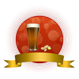 Background abstract red drink glass dark beer pistachios gold ribbon circle frame illustration Royalty Free Stock Image