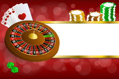 Background abstract red gold casino roulette cards chips craps illustration Royalty Free Stock Photos