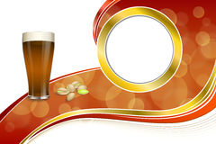 Background abstract red gold drink glass dark beer pistachios circle frame illustration Stock Images