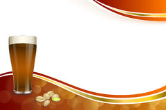Background abstract red gold drink glass dark beer pistachios frame illustration Royalty Free Stock Photography