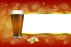 Background abstract red gold drink glass dark beer pistachios stripes frame illustration Royalty Free Stock Photos